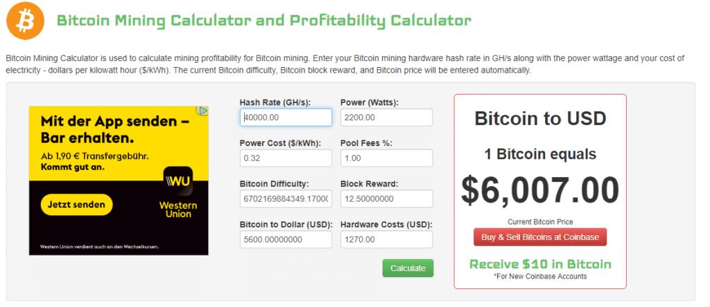 Bitcoin-Mining-Rechner-Coinwarz---Eingabedaten-Bitcoinbasis