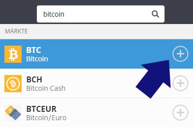 Bitcoin in die Watchlist aufnehmen