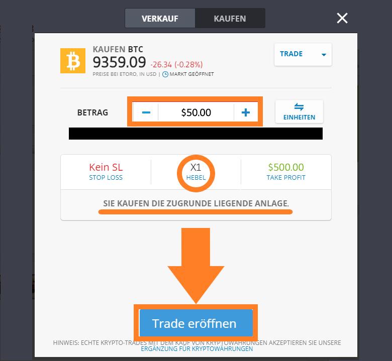 eToro Bitcoins kaufen