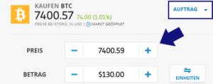 Auftrag platzieren, um Bitcoin mit PayPal zu kaufen
