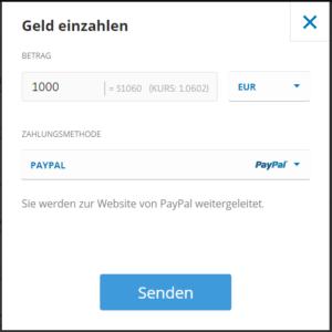 Einzahlung mit PayPal beim Broker eToro