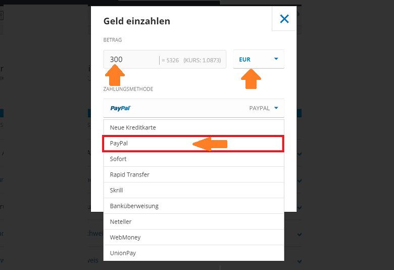 PayPal Zahlungsmethode