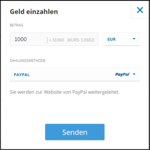 Ripple kaufen mit PayPal - Einzahlung beim Broker eToro