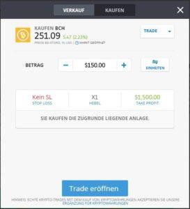 Blitzanleitung - BCH bei eToro traden