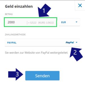 Einzahlung mit PayPal um Bitcoin Cash zu kaufen