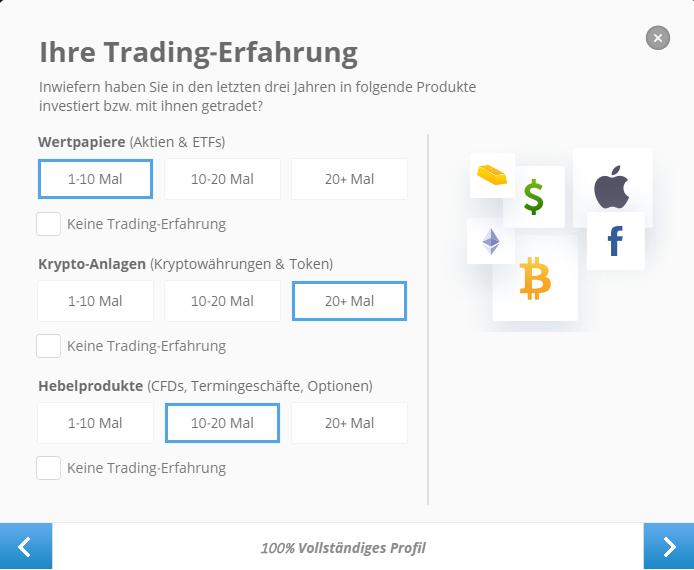 Trading Erfahrung beim Broker eToro beantworten