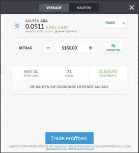 Cardano kaufen via PayPal - Trade bearbeiten