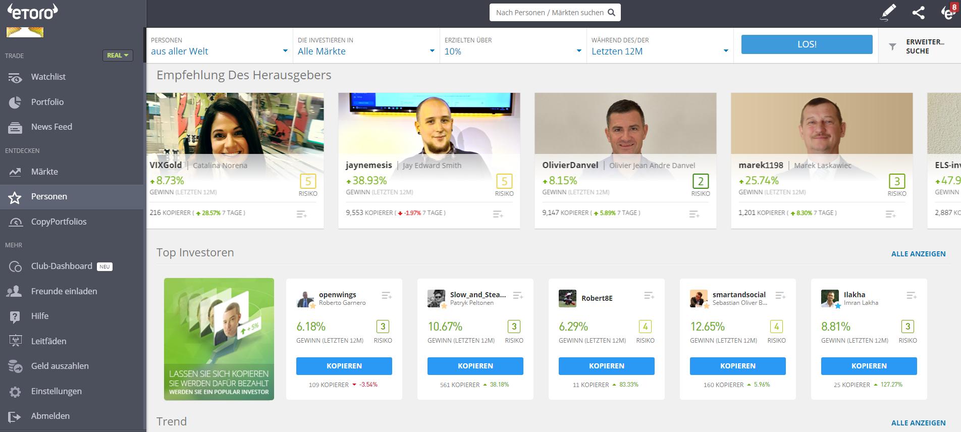 CopyTrader beim Social-Trading-Broker eToro