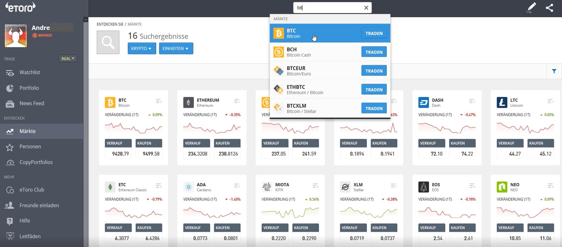 Kryptowährungen wählen eToro